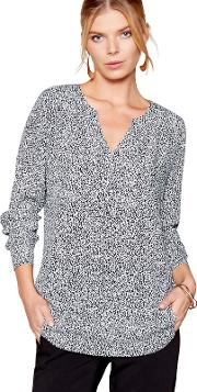 Black Long Sleeves Dot Print Blouse