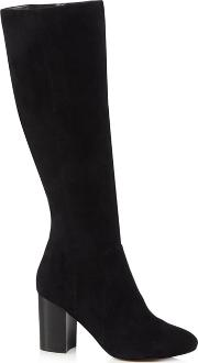 Black Suede jacy High Block Heel Knee High Boots