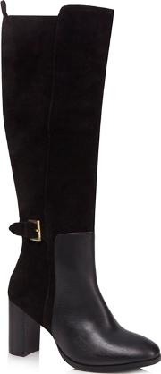 Black Suede jamel High Block Heel Knee High Boots