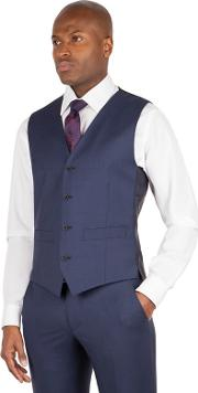 Blue 4 Button Front Tailored Fit Italian Suit Waistcoat