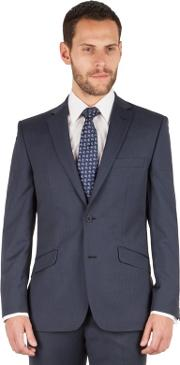 Blue Check 2 Button Front Tailored Fit Business Suit Jacket
