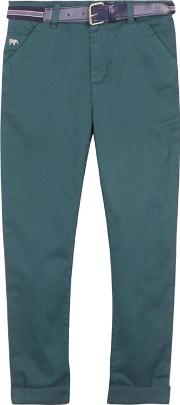 boys Dark Green Slim Fit Chino Trousers