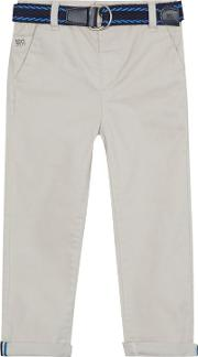 Boys Light Grey Belted Chinos