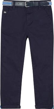 Boys Navy Belted Slim Fit Chinos