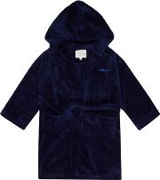 Boys Navy Hooded Dressing Gown