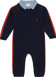 Boys Navy Knitted Collar Trim Romper Suit