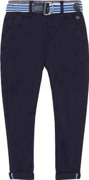 boys Navy Slim Fit Chino Trousers