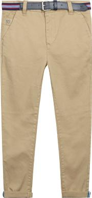 Boys Tan Belted Slim Fit Chinos