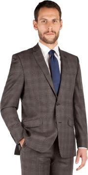 Brown Check 2 Button Front Tailored Fit Luxury Suit Jacket