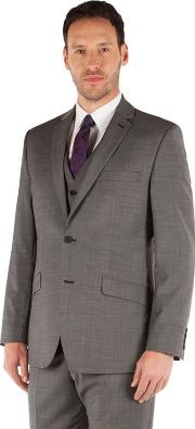 Charcoal Pindot 2 Button Front Tailored Fit Business Suit Jacket
