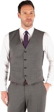 Charcoal Pindot 4 Button Front Tailored Fit Business Suit Waistcoat