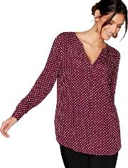 Dark Red Spotted Blouse