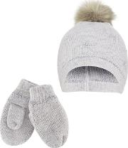 Girls Grey Knitted Pom Pom Hat And Mitten Set With Wool