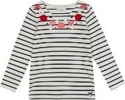 Girls White Bretton Stripe Flower Applique Top