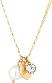 Gold Plated Cream Pearl Polished Short Pendant Necklace