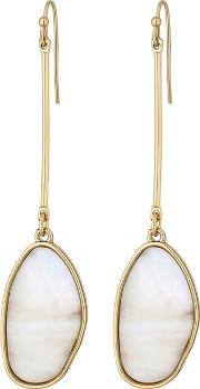 Gold Plated Gold Mop Dangle Stick Drop Earrings