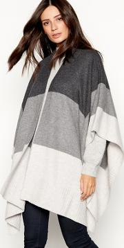Grey Colour Block Knitted Shawl Wrap