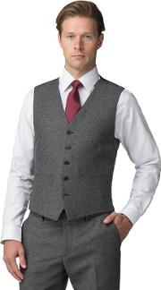 Grey Donegal Wool Blend Tailored Fit Suit Waistcoat