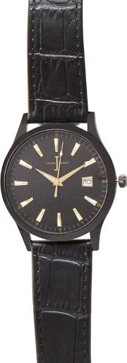 Mens Black Striped Dial Analogue Watch