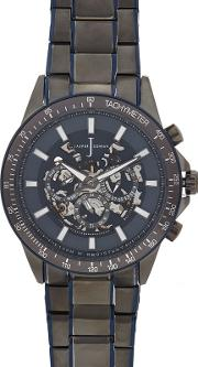 Mens Silver Plated Skeleton Analogue Watch
