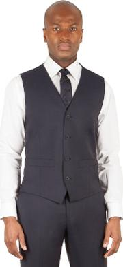Navy 4 Button Front Tailored Fit Italian Suit Waistcoat