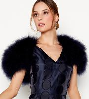 Navy Feather Shrug