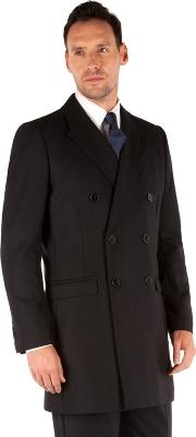 Navy Herringbone Double Breasted Tailored Fit Coat