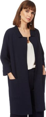 Navy Reverse Collar Coatigan