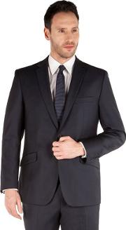 Navy Stripe 2 Button Front Tailored Fit Business Suit Jacket
