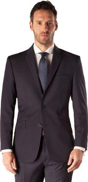 Navy Stripe 2 Button Tailored Fit Business Suit Jacket