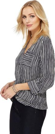 Navy Striped Print Blouse