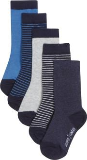 Pack Of Five Boys Assorted Striped Socks