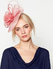 Pink camelia Wave Fascinator Headband