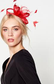 Red amy Feather Bow Fascinator