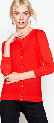 Red Cotton And Wool Blend Cardigan