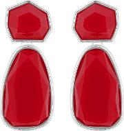 Red Faceted Stone Drop Earrings