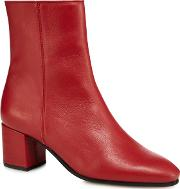 Red Leather janey Mid Ankle Boots