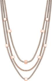 Rose Gold Plated Pink Polished Multi Row Necklace