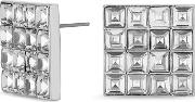 Silver Crystal Square Stud Earring