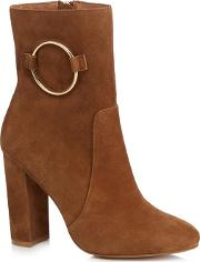 Tan Suede jania High Block Heel Ankle Boots