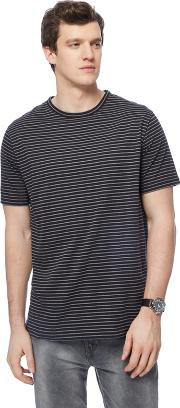 Big And Tall Black Striped Long Length T Shirt