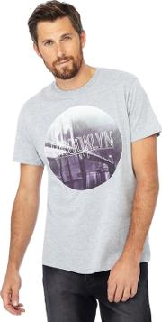 Grey Brooklyn Print Long Length T Shirt