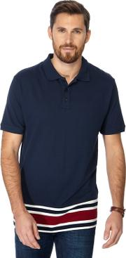 Navy Striped Hem Long Length Polo Shirt