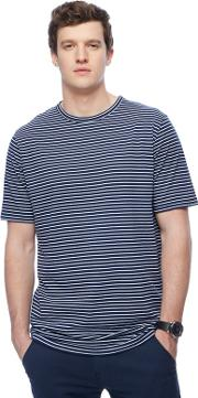 Navy Striped Long Length T Shirt