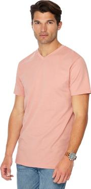 Pale Peach V Neck Long Length T Shirt
