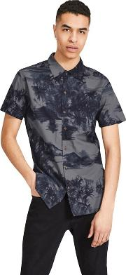 adf665ea Navy Patterned hawaii Short Sleeved Shirt. jack & jones