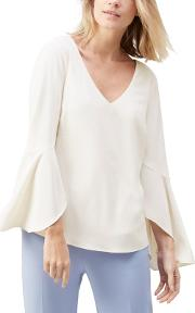 Lacy Fluted Sleeve Blouse