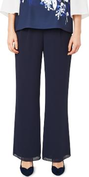 Navy Chiffon Straight Trousers