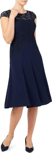 Navy Leaf Lace And Crepe Soft Dress