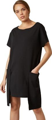 Black Large Pocket Mini Tunic Dress